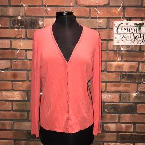 peach button up sweater soft cute warm Ann Taylor